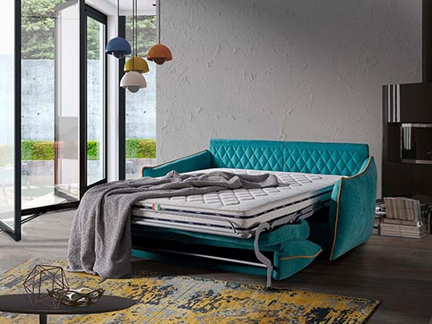Canape convertible lit tissu bleu turquoise moderne qualite ouvert