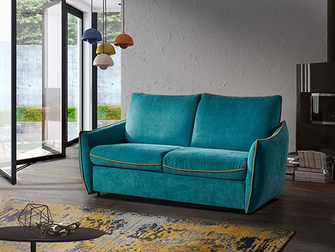 Canape convertible lit tissu bleu turquoise moderne qualite