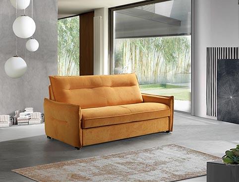 Canape convertible lit tissu jaune moderne qualite