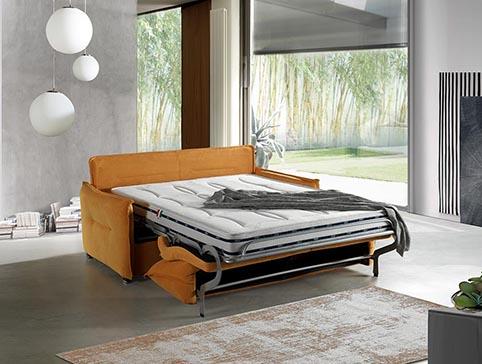 Canape convertible lit tissu jaune moderne qualte ouvert