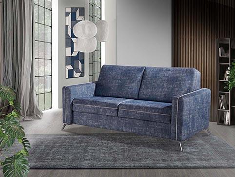 divant canape convertible lit tissu bleu jeans moderne qualite