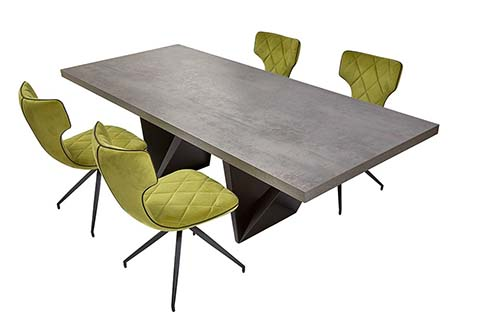 table rectangulaire salle a manger grise