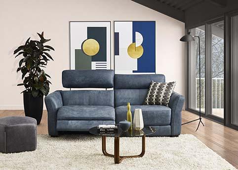 canape droit cuir relax bleu contemporain