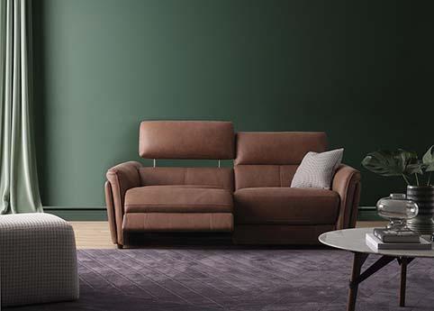 canape droit cuir relax brun contemporain
