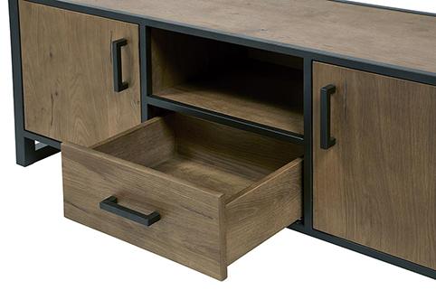 Meuble de salon tiroir ouvert portes tv
