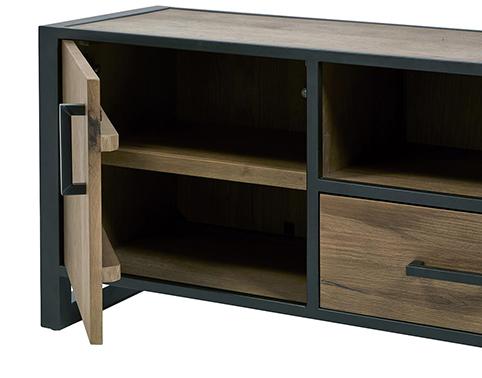 Meuble de salon tiroir porte ouverte tv