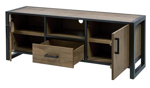 Meuble de salon tiroir portes tv ouvert