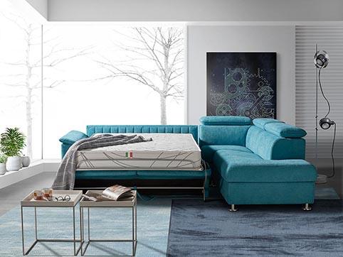 divant lit tissu angle moderne
