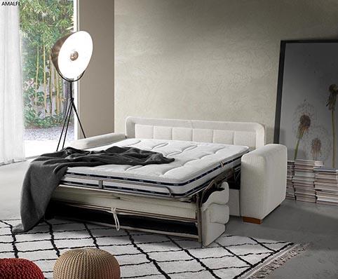 divant lit tissu blanc moderne deplié