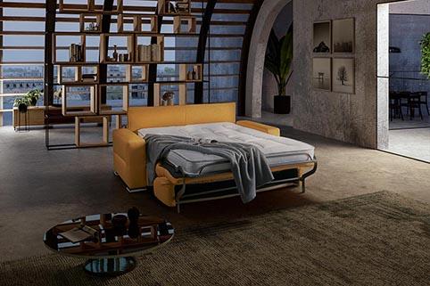 divant lit tissu jaune or moderne deplie