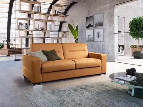 divant lit tissu jaune or moderne