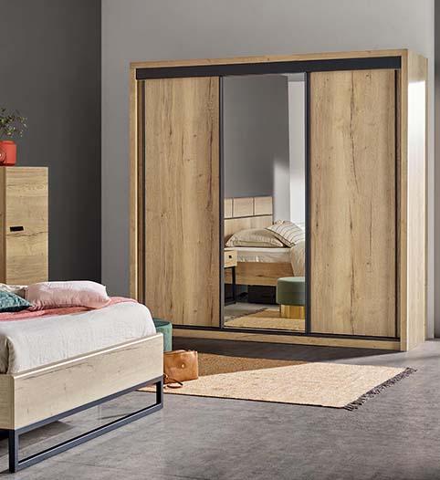 Garde robes chambre a coucher design bois
