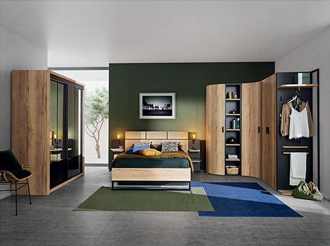 chambre a coucher design bois complete