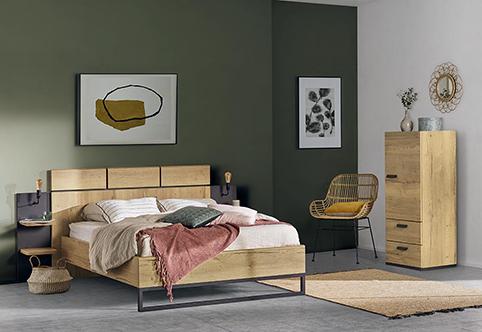 chambre a coucher lit design bois