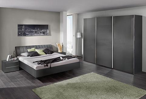 chambre a coucher noire moderne en bois