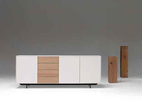 Meuble salle a manger bas design bois blanc