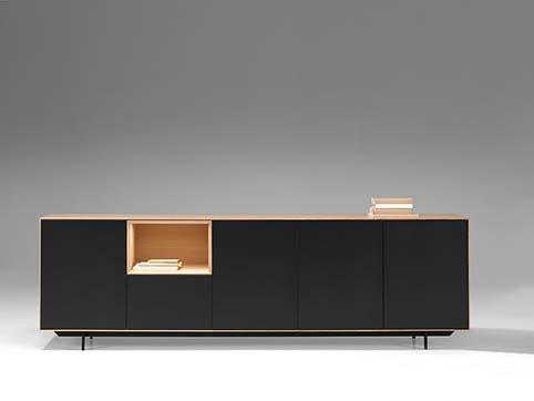 Meuble salle a manger bas design bois noir