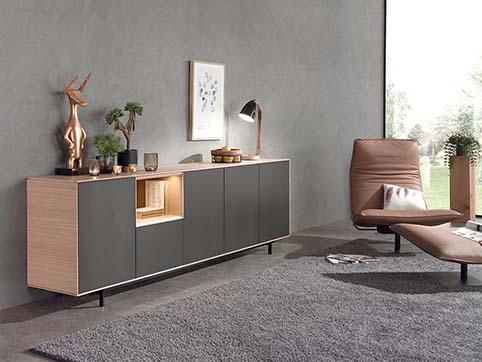 Meuble salle a manger bas design gris bois