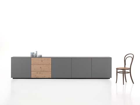 Meuble salle a manger rangement bas design gris bois