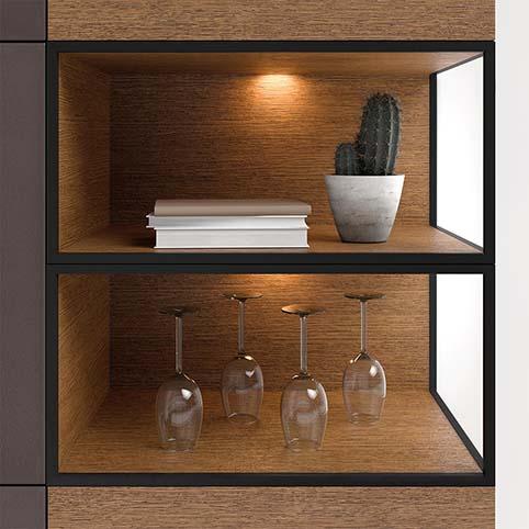 Meuble salle a manger vitrine design bois focus