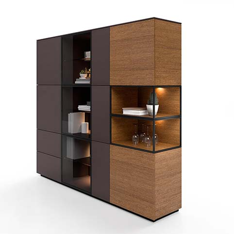 Meuble salle a manger vitrine design bois