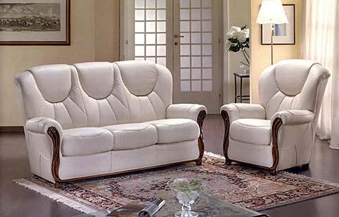 Canape cuir blanc classique