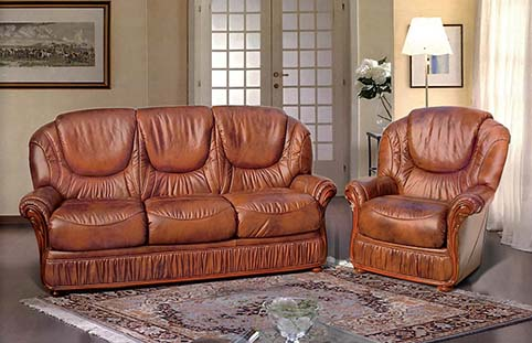 Canape cuir brun classique
