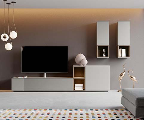 Ensemble meuble tv gris design