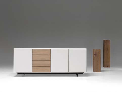 Meuble salon bas design bois blanc