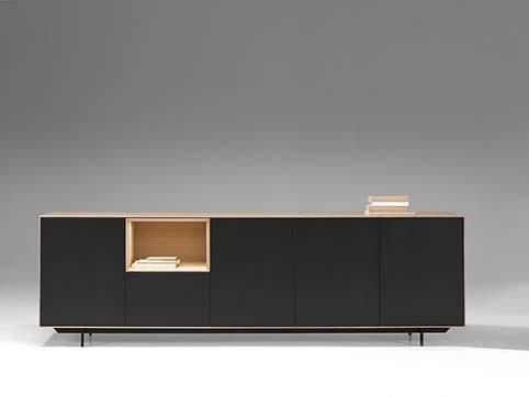 Meuble salon bas design bois noir