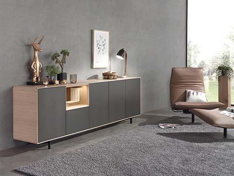 Meuble salon bas haut design divers blanc bois