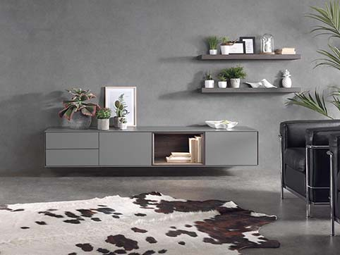 Meuble salon bas design gris bois