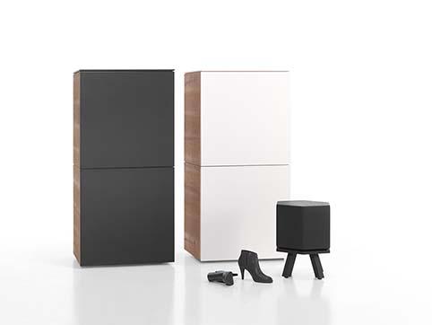 Meuble salon rangement bas design blanc bois