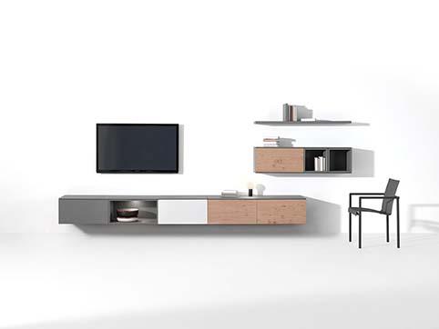 Meuble salon rangement bas design gris bois