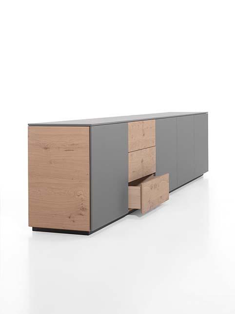 Meuble salon rangement bas design gris bois cote