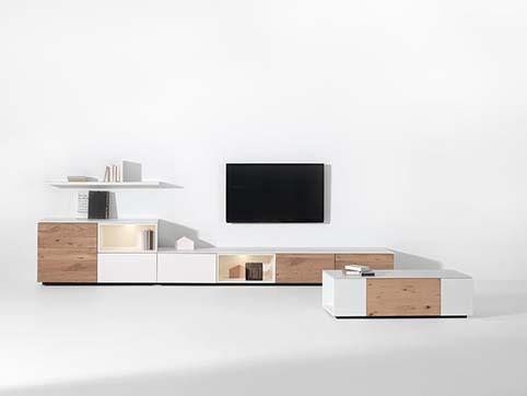 Meuble salon rangement bas design gris bois tv
