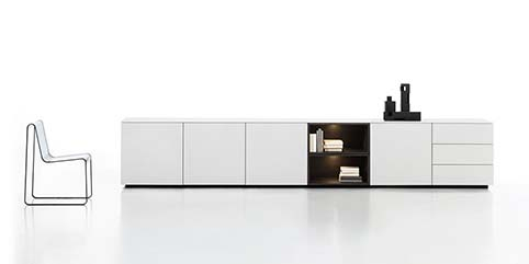 Meuble salon rangement design blanc bas