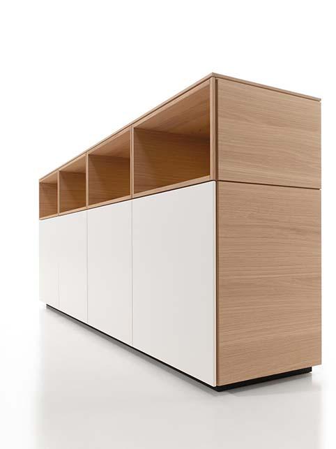 Meuble salon rangement design blanc bas bois cote