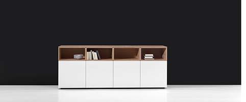 Meuble salon rangement design blanc bas bois face