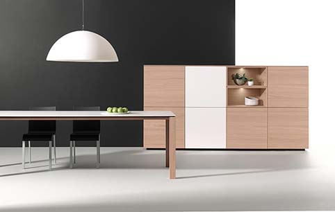 Meuble salon rangement design blanc bas bois table