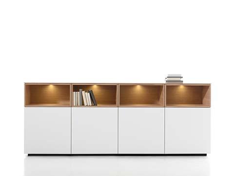 Meuble salon rangement design blanc bas bois