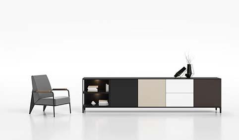 Meuble salon rangement design blanc bas droit