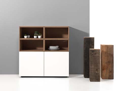 Meuble salon rangement design blanc bois