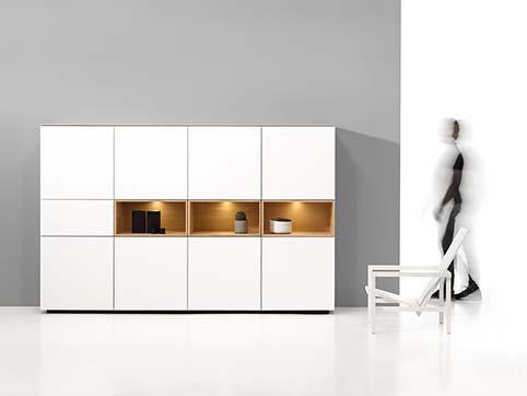 Meuble salon rangement design blanc haut