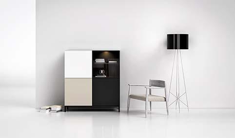 Meuble salon rangement design blanc noir