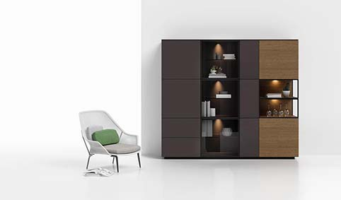 Meuble salon rangement design bois
