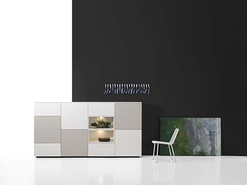 Meuble salon rangement design gris blanc bas bois