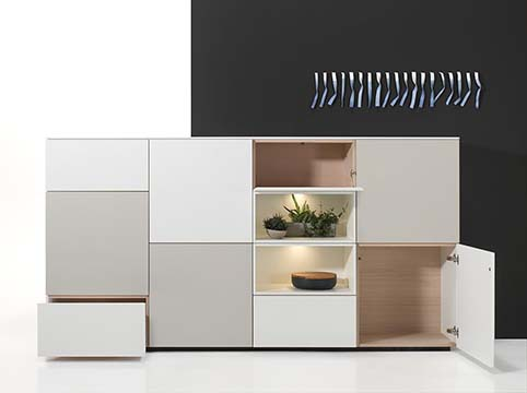 Meuble salon rangement design gris blanc tiroirs