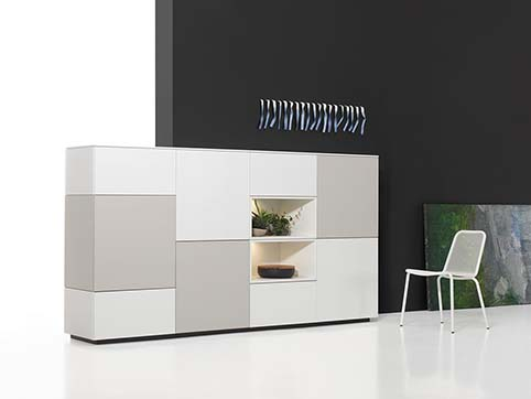Meuble salon rangement design gris blanc