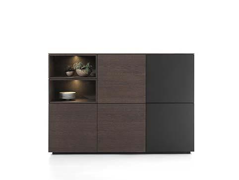 Meuble salon rangement design gris